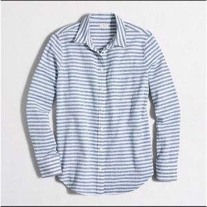 J. Crew Perfect Fit Striped Chambray Button Down